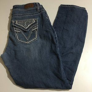 VGS Skinny Blue Jeans Sz 8 Flap Pockets Distressed